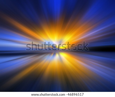 Abstract background in blue, orange and yellow tones representing explosion. - stock photo