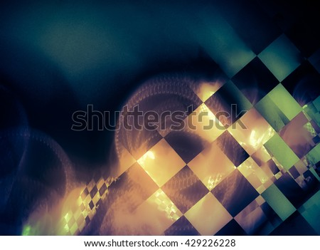 Abstract background in deep blue and gold colors, with elements of flags used in racing.  For design in terms of race, rally, car, speed, adrenaline, competition, sport. - stock photo