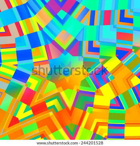 Abstract Background in Rainbow Colors - Concentric Yellow Mandala - Multicolored Mosaic - Digital Art Collage - Kaleidoscopic Design - Artwork Illustration - Psychedelic Colourful Backgrounds - - stock photo