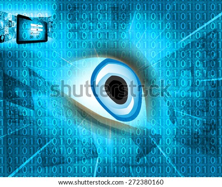 Abstract background in the form of a binary code of the human eye and the keyboard design for various necessities. - stock photo