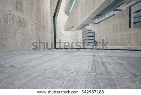 Abstract background in the form of high-rise buildings made of dark concrete with blue windows. 3D illustration and rendering