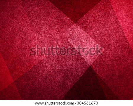 abstract background, layers of intersecting angles, rectangles and squares floating in random pattern, transparent with intricate texture, red background - stock photo