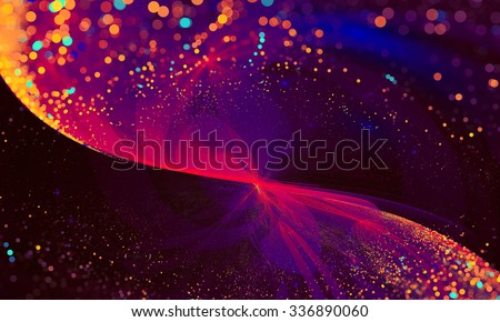 Abstract Background Lights Particles glitter Wave with bokeh. Fractal art pattern for wallpaper, interior, album, flyer cover, poster, booklet - stock photo