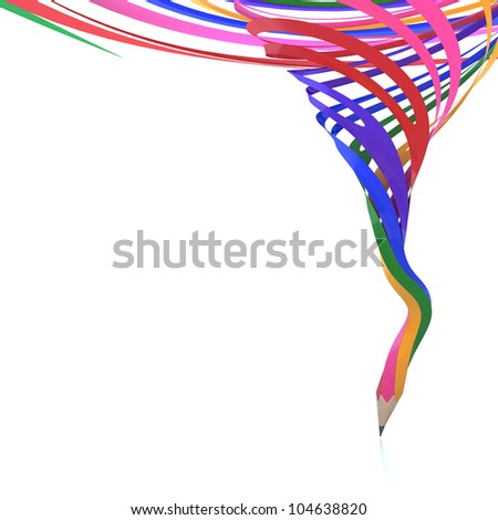 Abstract background line of color pencil as rainbow illustration