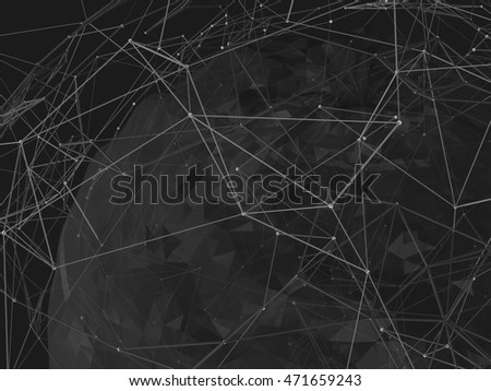 Abstract background lines, connected dots and geometric shapes. 3D illustration.