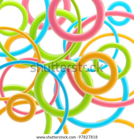 Abstract background made of colorful glossy circles on white - stock photo