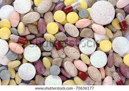 Abstract background made of colourful pills