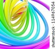 Abstract background made of glossy rainbow colored hoop torus rings over white - stock photo