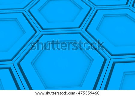 Abstract background made of light blue hexagons, wall of hexagons, 3d render illustration