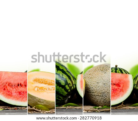 Abstract background made of melons and leaves - stock photo