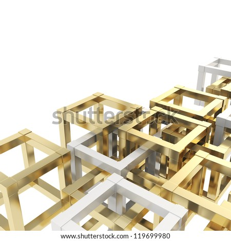Abstract background made of white and golden cube fragments on white - stock photo
