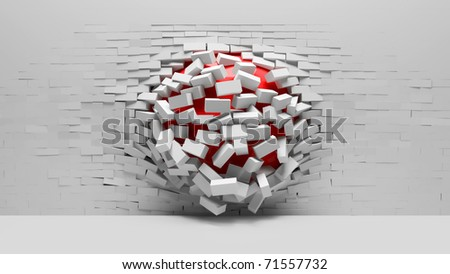 Abstract Background of a Destruction brick wall - stock photo