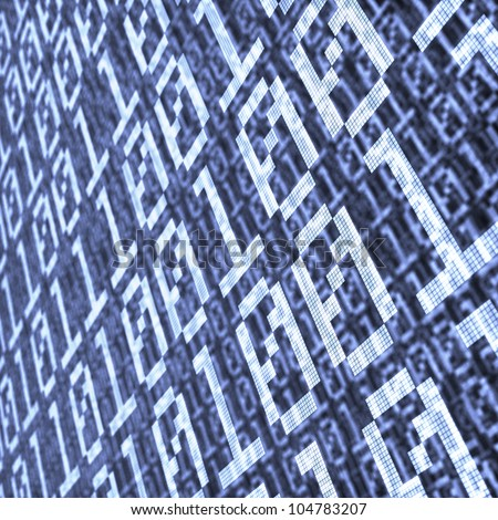 abstract background of binary code layers with depth of field effect