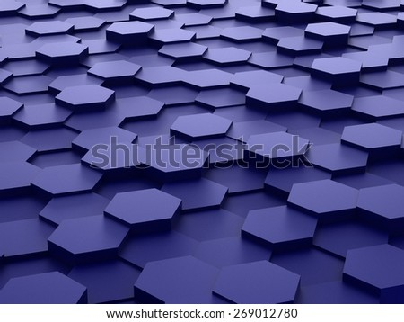 Abstract background of blue 3d hexagon blocks - stock photo