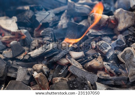 abstract background of burning coals,charcoal - stock photo
