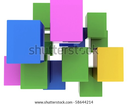 abstract background of colored 3d blocks