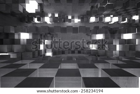 Abstract background of concrete cubes - stock photo