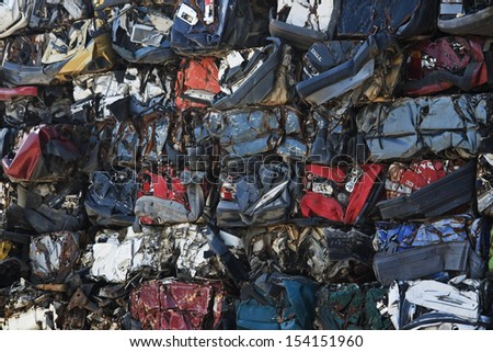 Abstract background of crushed cars - stock photo