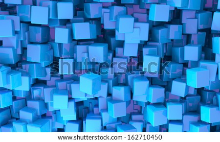 Abstract background of 3d blue cubes of different sizes in random orientations giving a scattered pattern - stock photo