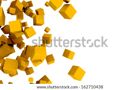 Abstract background of 3d yellow or golden cubes in different sizes tumbling across a white background with copyspace in a random pattern - stock photo