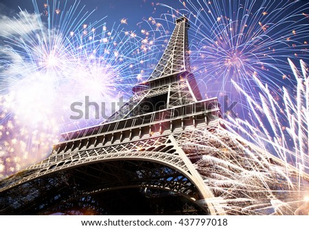 Abstract background of Eiffel tower with fireworks, Paris, France - New Year - stock photo
