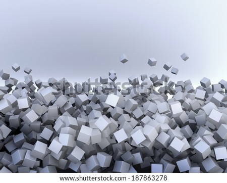 Abstract background of falling cubes - stock photo