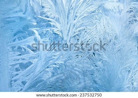 Abstract background of frost water on cold window glass