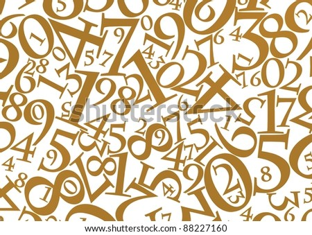 Abstract background of gold numbers against a white background - stock photo
