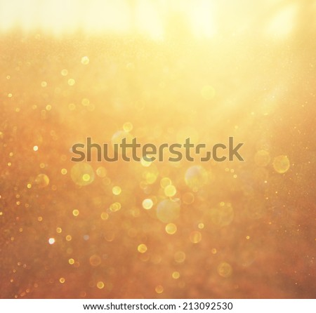 abstract background of golden bokeh lights.  - stock photo