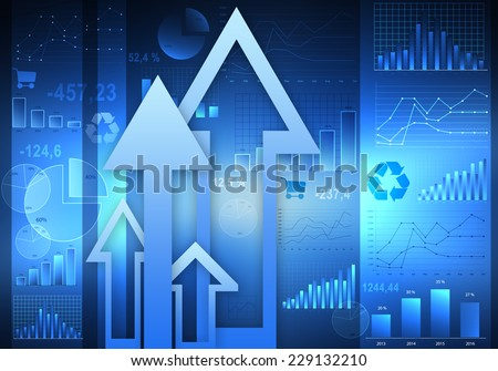 abstract background of graphs and large arrows