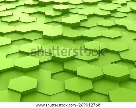 Abstract background of green 3d hexagon blocks - stock photo