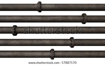 Abstract background of many rusted old pipes isolated on white