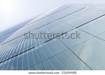 Abstract background of modern building windows, Lisbon, Portugal - stock photo