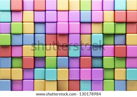 Abstract background of multi-colored cubes. 3D Illustration - stock photo