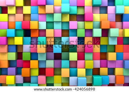 Abstract background of multi-colored cubes, 3D illustration - stock photo