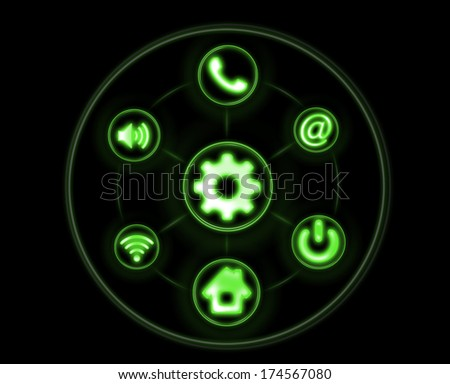 Abstract background of neon buttons