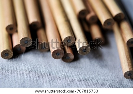 Abstract background of pencils with selective focus limited pencil.