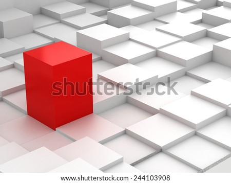 Abstract background of red 3d blocks - stock photo