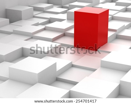 Abstract background of red 3d blocks