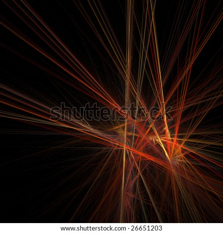Abstract background of red, yellow and orange rays intersecting on black background