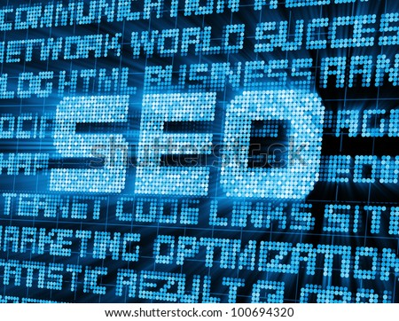 Abstract Background of SEO - Search Engine Optimization Symbol with Glowing Rays - stock photo