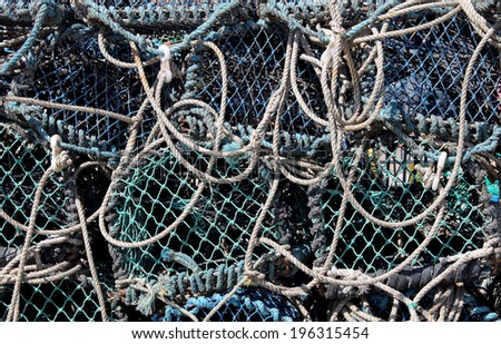 Abstract background of tangled fishing nets. - stock photo