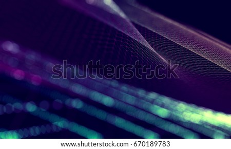 Abstract background of technology and science. Mesh or net with lines and geometric shapes detail.3d illustration