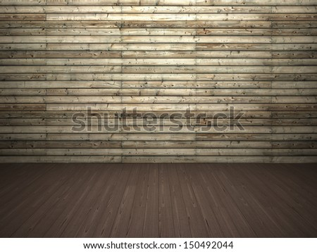 Abstract background of textured timber wall and wooden floor - stock photo