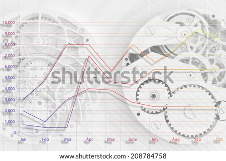 abstract background of the clock and business graph