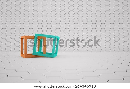 Abstract background of the orange and turquoise cubes on white mesh grid - stock photo