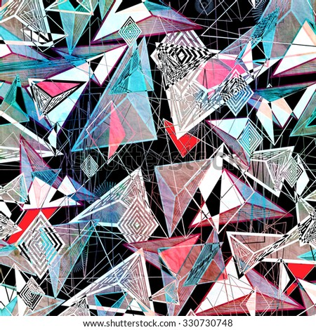 abstract background of triangles and contour lines - stock photo