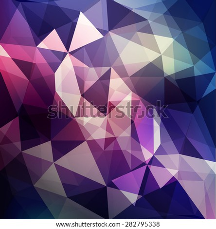abstract background of triangles in purple and blue tones - stock photo