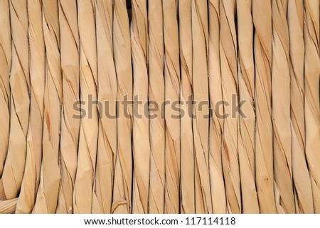 Abstract background of twisted natural fibers arranged in a parallel line