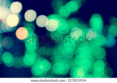 Abstract background of vintage Christmas bokeh lights